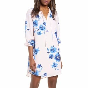 Gibson Holly Pink Floral Long Sleeve Mini Dress